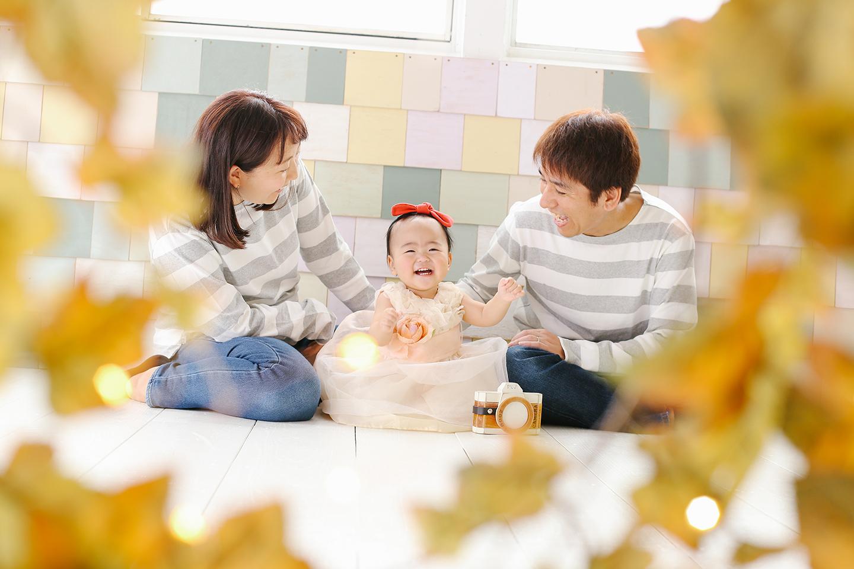 1歳記念の家族写真